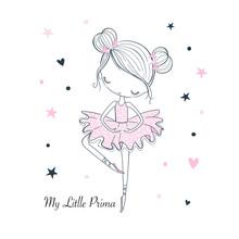 Little Dancing Ballerina. Childish Vector Graphic Doodle Illustration