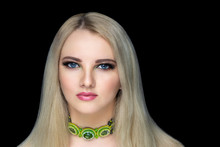 Woman Straight Blonde Hairstyle Green Necklace