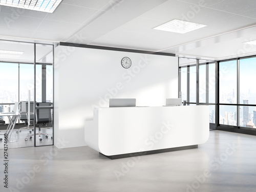 Fototapeta Blank white reception desk in concrete office with large windows Mockup 3D rende