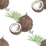 Seamless pattern with hand drawn coconut with half and leaves - 274375672