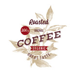 Type emblem over hand drawn coffee branch. Package design. - 274375877