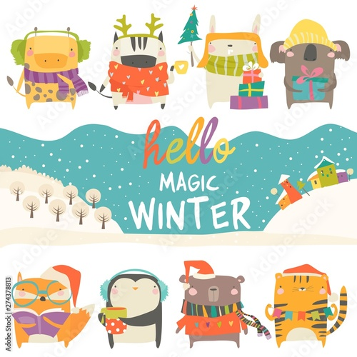 Set of cute animals with winter theme on white background