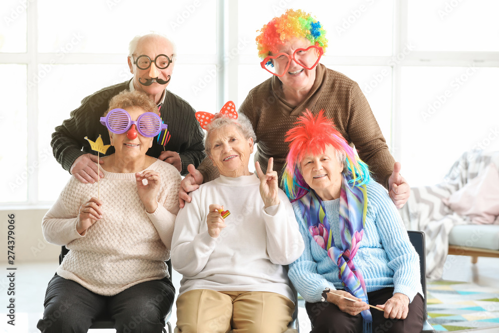 Fototapety, obrazy: Happy senior people spending time together in nursing home