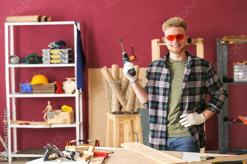 Fotografía  Portrait of male carpenter in workshop