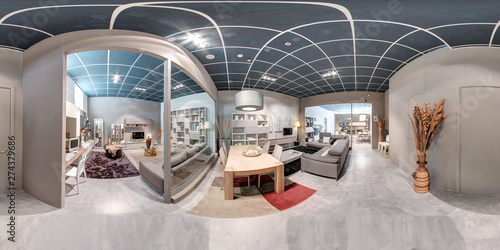 Fotografia  360 panorama of a furniture showroom interior