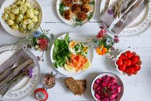 Scandinavian Midsummer Feast With Potato Salad, Meatballs, Salmon And Beetroot