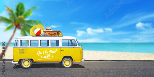 Poster Montagne Yellow van on the journey. Beach with palm tree in background. The concept of adventure, hippie travel and vacation.