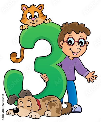 Deurstickers Voor kinderen Boy and pets with number three