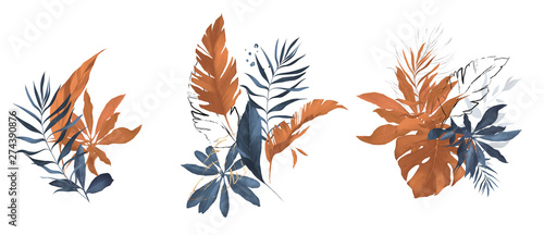 terracotta and navy blue watercolor  leaves Canvas-taulu