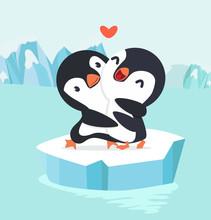 Penguin Couple Hug In North Po...