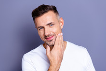 Close Up Photo Amazing He Him His Middle Age Macho Perfect Ideal Appearance Look Bath Mirror Show Groomed Neat Stubble Mustache Test Quality New Balm Wear Casual White T-shirt Isolated Grey Background