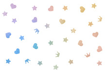 Rainbow Glitter Star, Heart And Crown Paper Cut On White Background - Isolated