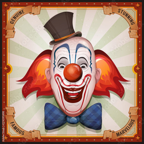 Canvas-taulu Vintage Circus Poster With Clown Head/ Illustration of retro and vintage circus