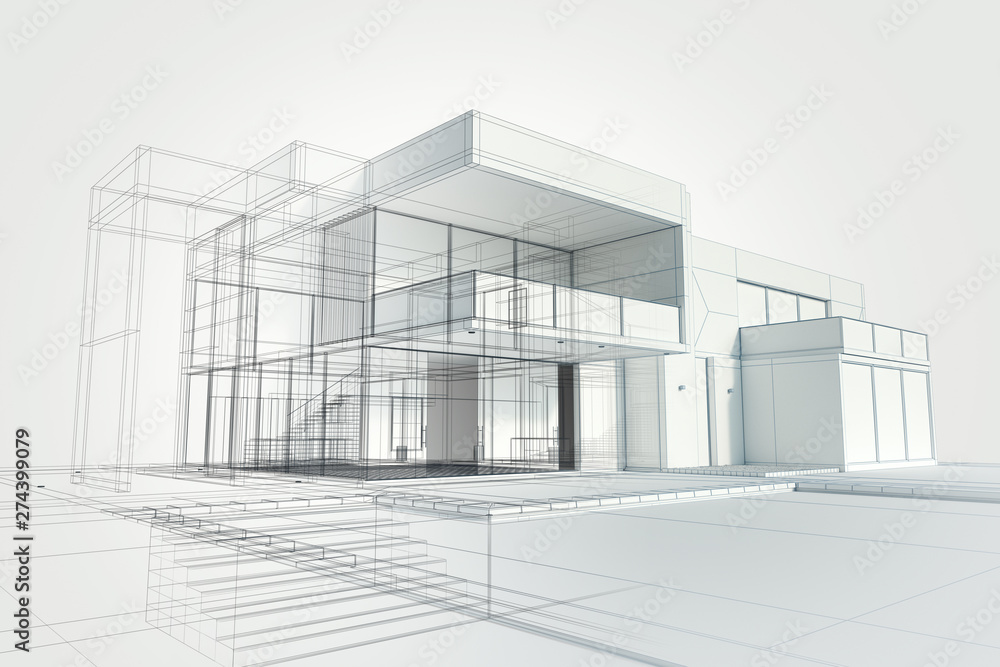 Fototapety, obrazy: Modern house abstract rendering