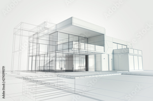 Modern house abstract rendering - fototapety na wymiar