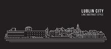 Cityscape Building Line Art Vector Illustration Design -  Lublin City