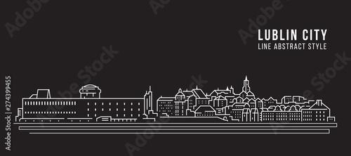 Obraz Cityscape Building Line art Vector Illustration design -  Lublin city - fototapety do salonu