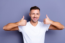Close Up Photo Amazing He Him His Middle Age Macho Perfect Appearance Hands Arms Raised Thumb Up Agree Hairdo After Barber Shop Visit Advising Wear Casual White T-shirt Isolated Grey Background