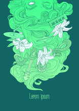 Vector Hand Drawn Art With Girl Mermaid Hair, Musical Instruments And Snake. Rock Indie Music Poster, T-shirt, Print Design