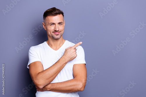 Close up photo amazing he him his middle age macho perfect appearance hand arm i Wallpaper Mural