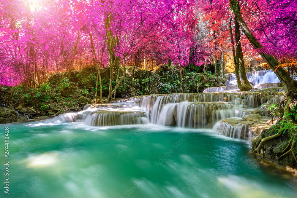 Fototapety, obrazy: Amazing in nature, beautiful waterfall at colorful autumn forest in fall season