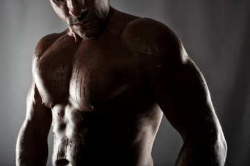 Muscular of a body building trainer man