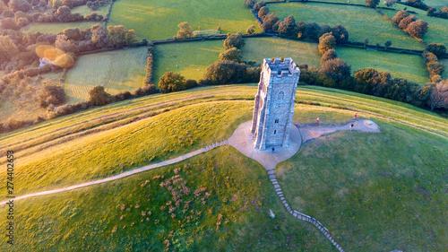 Foto auf Leinwand Olivgrun Glastonbury Tor Monument, England, UK