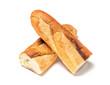 Leinwandbild Motiv Baguette cut in half, Baguette bread, French bread, Organic baguette francese on white background