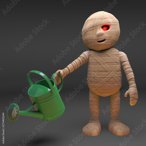 Fotografia  Egyptian mummy monster waters his patch of the desert, 3d illustration