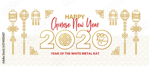 Photo  Banner with a White Metal Rat symbol of 2020 on the Chinese calendar
