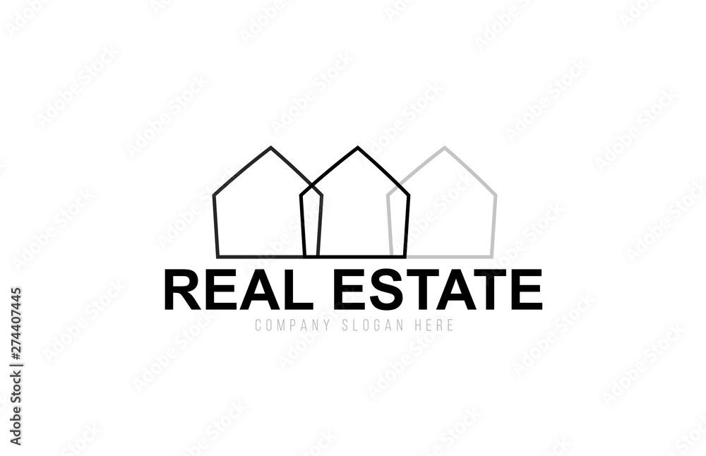 Fototapeta black and white real estate house creative logo icon design concept idea