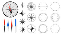 Navigational Compass With Set Of Additional Dial Faces, Wind Roses And Directional Needles.