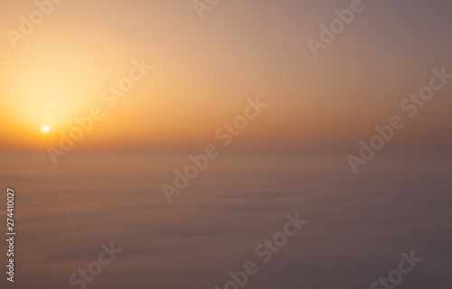Poster Mer coucher du soleil Misty morning in Central Bohemian Highlands, Czech Republic