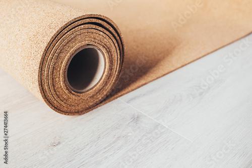 Valokuva  Cork underlay for laying flooring - natural environmental quality material