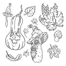 Jack O Lantern Halloween Set. Nature. Hand Drawn Vector Illustrations. Use It As Is Or Change White To Any Color