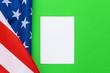 Leinwandbild Motiv Blank business card with american flag