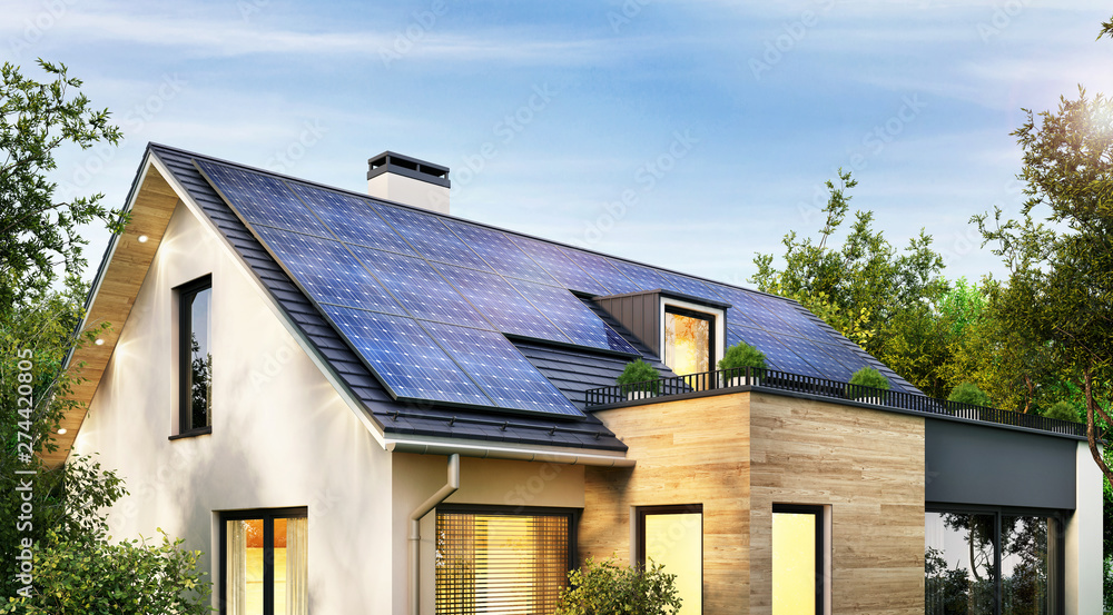 Fototapety, obrazy: Solar panels on the gable roof of a modern house