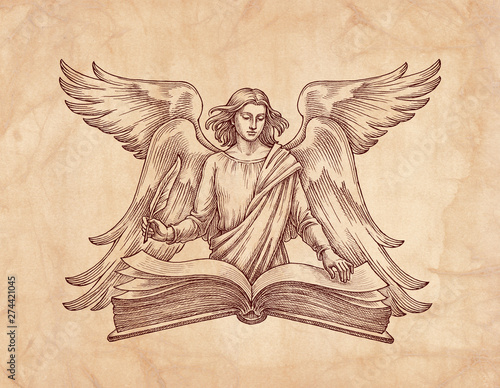 Hand drawn illustration, winged angel with a book. Poster Mural XXL