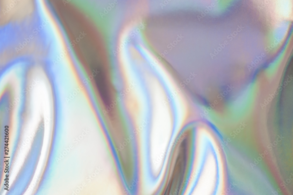 Fototapety, obrazy: Holographic abstract soft pastel colors backdrop. Holographic color wrinkled foil. Iridescent art. Trendy creative gradient.