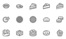 Pies And Cakes Vector Line Ico...