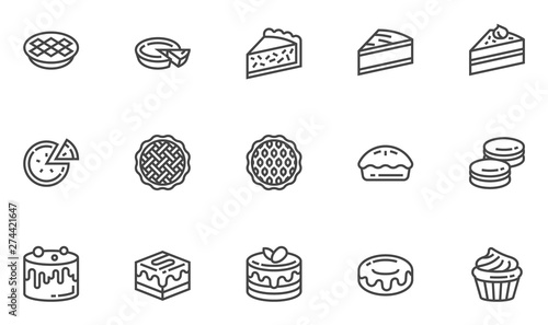 Pies and Cakes Vector Line Icons Set. Bakery, Piece of Cake, Donut, Sweet Pastry, Dessert. Editable Stroke. 48x48 Pixel Perfect.