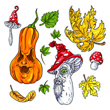 Jack O Lantern Halloween Set. Nature. Hand Drawn Vector Illustrations To Decorate Your Party Or Design