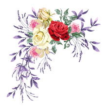 Floral Garland For Wedding, Bouquet Of Beautiful Red, Yellow, Pink Roses Flower And Foliage On White Background.