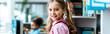 Leinwandbild Motiv panoramic shot of cheerful kid with pink backpack standing in library