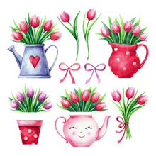 Set Of Hand Painted Watercolor Tulips, Vase, Pot, Teapot, Watering Can And Bow Isolated On White Background. Vintage Collection