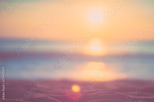 Fototapeten See sonnenuntergang Copy space of soft sand sea and blur tropical beach with sunset sky and cloud abstract background.