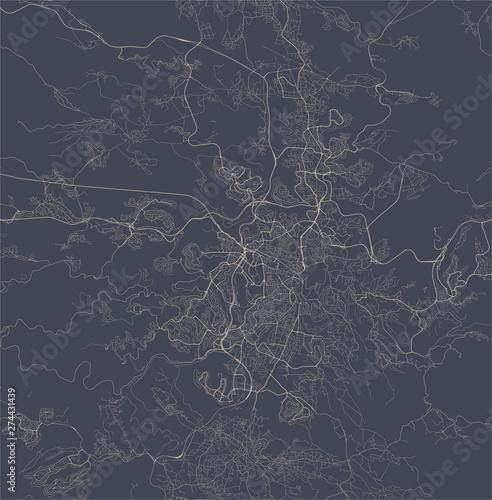 Obraz na plátně map of the city of Jerusalem, Israel