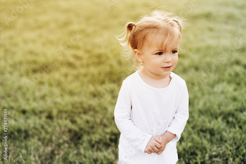 Fototapeta little baby girl with blond hair and two tails, wearing a white T-shirt standing on green grass in nature, smiling obraz