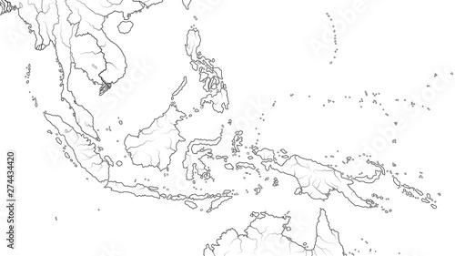 Pinturas sobre lienzo  World Map of SOUTHEAST ASIA REGION: Indochina, Thailand, Malaysia, Indonesia, Philippines, Sumatra, Kalimantan, Malay Archipelago and Islands
