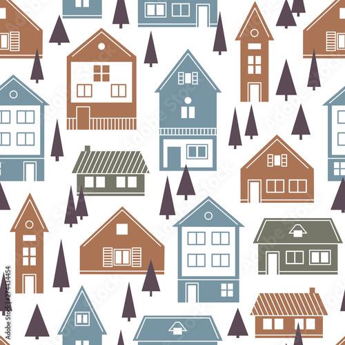 Fototapety, obrazy: Houses. Vector seamless pattern.